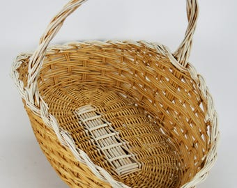 Flower Girl Basket - Wedding Basket - Wedding Decor - Wicker Basket - Rustic Basket - Farmhouse Basket - Vintage Basket - FREE SHIPPING