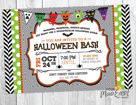 Halloween Party Invitation - Kid Halloween Party - Monster Bash - Halloween Bash - Spooktacular - Halloween Invite
