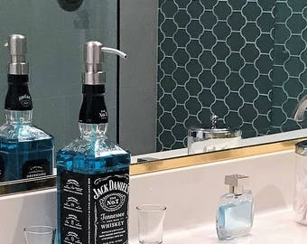 Clear Coat! Jack Daniels Whiskey Soap Dispenser / Jack Daniels Decor Boyfriend / Glass Soap Dispensers Dish Soap Whiskey Gift Whiskey Lover
