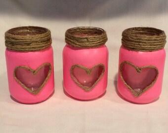 Mason Jar Hearts Candle Holder Set of 3