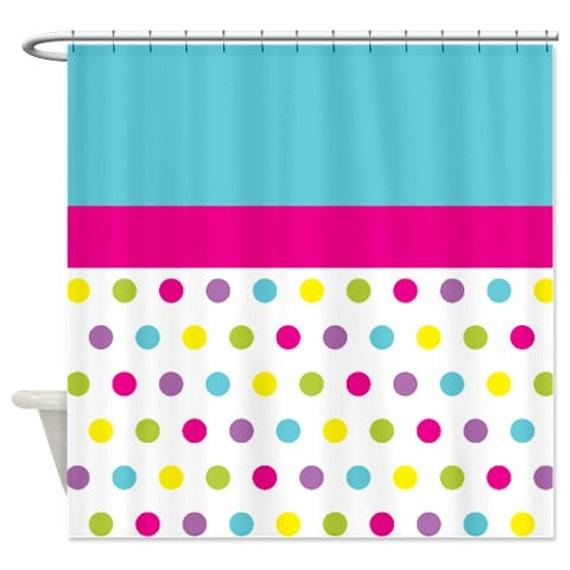polka dot shower curtain custom hot. Black Bedroom Furniture Sets. Home Design Ideas
