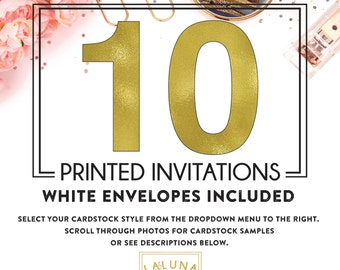 Set of 10 printed invitations / cards
