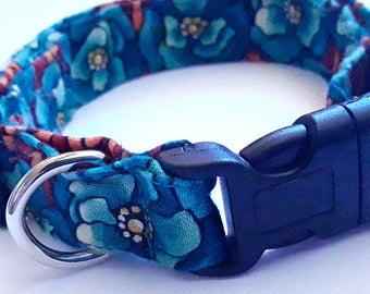 Unusual, Medium Dog Collar, Boy Fabric Collar, Blue Green Brown, Medium Adjustable