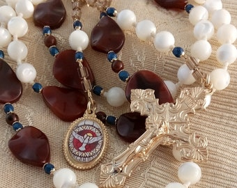 Holy Spirit Chaplet Confirmation Rosary Non-Plated Brass, Flame Carnelian Gemstone & Mother of Pearl Shell Unique Artisan Confirmation Gift