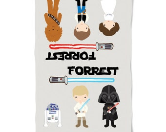 Baby or Child Blanket Star Wars Theme Personalized with Name Perfect Birthday or Baby Shower Gift