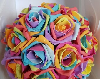 Rainbow Rose Floral Posy
