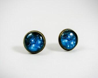 Blue galaxy earrings, Universe stud earrings, Nebula jewelry, Blue earring studs, Space jewelry, Universe jewelry, Brass post earrings