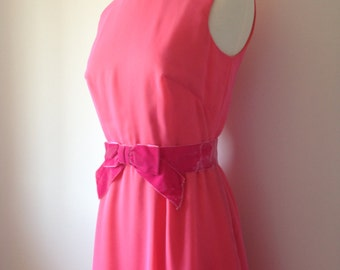 Vibrant Vintage Pink Orange 60s Gown / One Of A Kind Dress / Wedding Bridesmaid / Fashion Gown