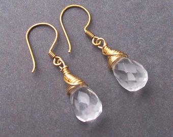 Crystal Quartz Earrings Bridal Wedding Jewellery - Gold Vermeil Wire Wrapped Jewelry For Women - Clear April Birthstone Handmade Drop Dangle