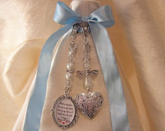 Guardian Angel Heart Locket Bridal Bouquet Memory Charm Wedding Day Poem Verse
