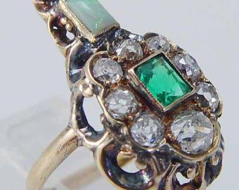 Antique Georgian Diamond Ring, Opal Emerald Ring, Green & Pink Gemstones, Statement Ring, 14K Gold Ring  c.1820s Regency Era