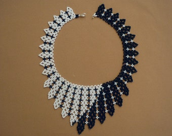 black and white  beadwork necklace, seed bead statement necklace, choker collar necklace, gift for her