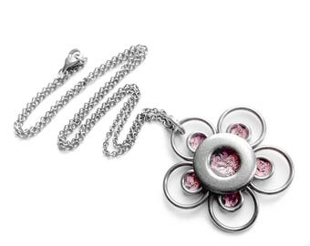 Silver Flower Necklace, Spring Jewelry, Stainless Steel Necklace, Resin Jewelry, Light Pink, Customizable Color