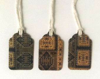 """3 Small Gift Tags  - 1.5"""" x 15/16"""" All Recycled Materials - Dark Tapestry Design, Olive Green, Dark Gold Black"""