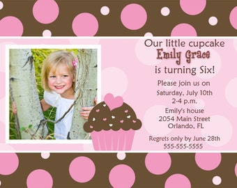 Pink And Brown With Dots Cupcake Photo Card Invitation