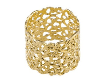 Lace gold ring. Lace ring. Wide gold ring. Wide ring. Wide lace ring. Gold ring. Filigree ring. Filigree gold ring. Textured gold ring.