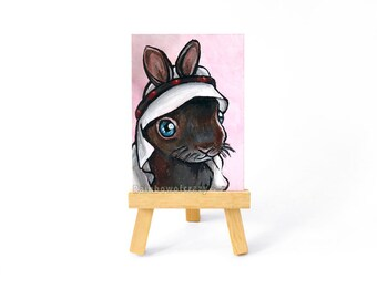 Rabbit Art Original ACEO, Pet Portrait, Woodland Animal Painting, Arabic Scarf, Arab Keffiyeh, Cute Baby Bunny, In Memory, Pet Loss