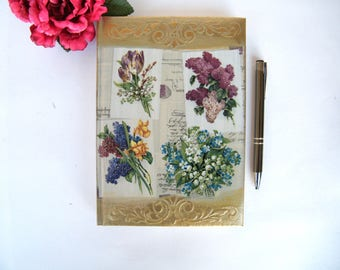 Agenda 2018, daily diary 2018, To do list notebook, daily planner, vintage flowers, multilingual calendar, OOAK boss gift, co-worker gift