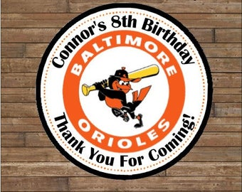 Personalized Baseball Stickers  Baseball Team Favor Tags    Baseball  Birthday   Baltimore Orioles Stickers