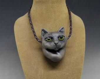 Grey Cat Pendant 2 Handmade Glass
