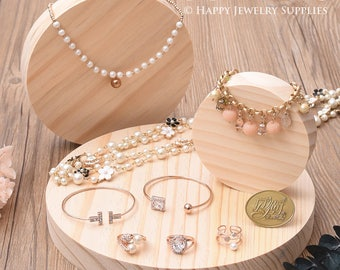 1pcs Natural Wood Round Shape Ring Earring Necklace Bracelet Display Holder / Jewelry Display Cabinets, Jewelry Supplies (DH029)