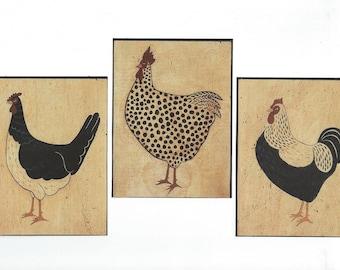 Rooster Collage Paper Pack, Folkart Clip Art, Warren Kimble Clipart, Wallie Paper Ephemera, Warren Kimble Wallies PSS 3208