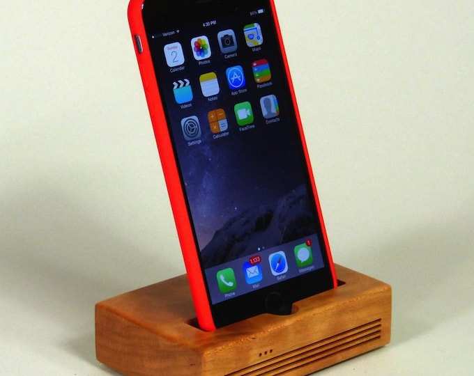 iPhone  Plus Docking Station - The CONCERT Acoustic Speaker Dock  in CHERRY wood – Use With or Without a Case - Boosts the Sound