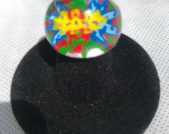 LUCITE RING Reverse Painted Multi Colored Size 5 3/4