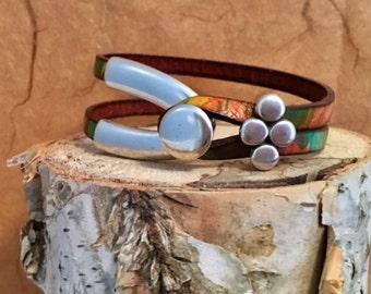 Leather bracelet   Women's leather bracelet   Wrap bracelet   Leather and silver bracelet   Sundance style jewelry