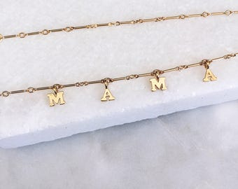 Mama Necklace, Gold Filled, Initial Necklace, Delicate Necklace, 14 KT Gold Fill, Mom Necklace, Gift for Mom, Name Necklace, Momy Necklace