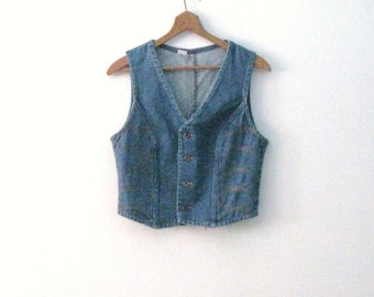 Vintage 70s Wrangler denim vest / orange stitch detail Rustic Country Bohemian jean vest