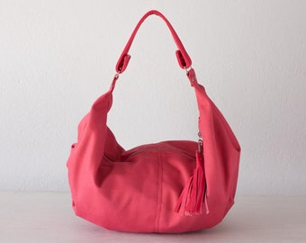 Hobo shoulder bag in pink canvas and leather, hobo slouchy purse cotton purse - Mini Kallia bag