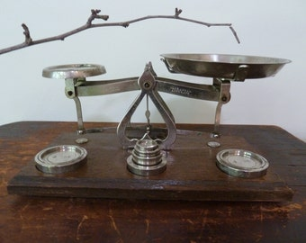 stunning antique chrome postal scales / johnson's / made in england / vintage / rustic scales / vintage office / antique scales