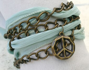 Hand Dyed Silk Ribbon Wrap Bracelet Brass Chain -SeaFoam Peace Sign Charms
