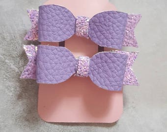 Two tiny light purple lilac glitter and leather look fabric hair bow clip