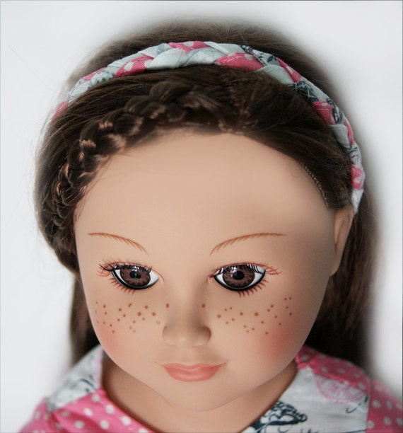 Braided Doll Headband for 18-inch Dolls - Pink and White
