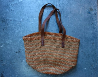vintage large straw bag with leather handles-perfect for the summer