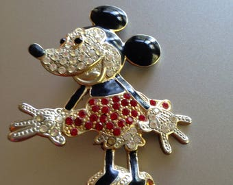 Minnie Mouse Brooch Rhinestone Glam