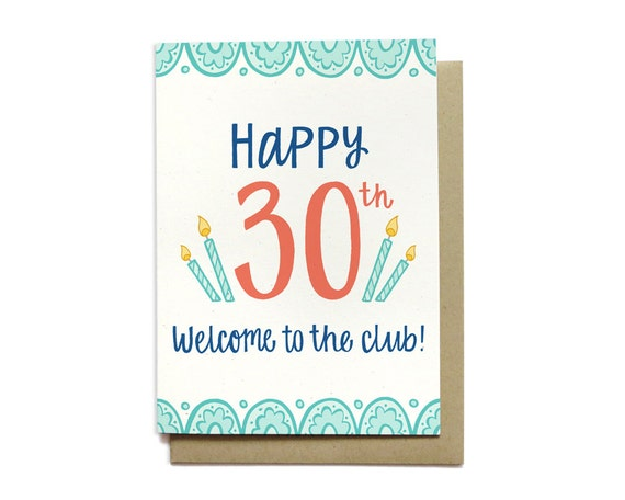 Funny birthday card 30th birthday card happy 30th welcome like this item bookmarktalkfo Choice Image