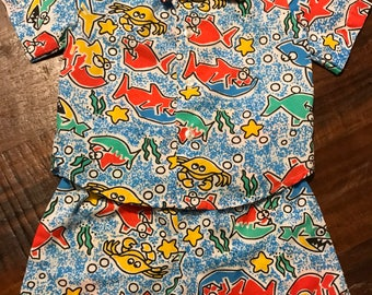 Boys shirt and shorts set 12 month 18 month vintage 1980s Under the Sea fish crab starfish toddler
