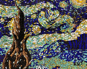 "Stained Glass Mosaic of Van Gogh's ""Starry Night"""