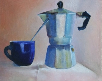 Painting of Italian coffee pot, small oil painting, kitchen decor