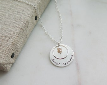 Ready to Ship Mothers Day Great Grandma Necklace with Pearl - Sterling Silver - Hand Stamped Jewelry Necklace by Betsy Farmer Designs