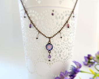 Boho Necklace Stars Necklace MELODY of the STARS MANDALA Jewelry Celestial Necklace Mandala Necklace Boho Jewelry Healing Jewelry Purple