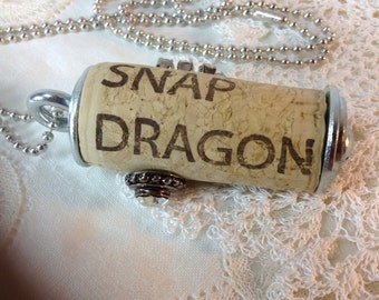 Snap Dragon Wine Cork Necklace. Repurposed Recycled