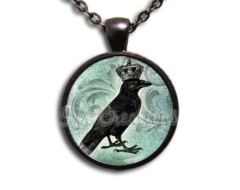 Black Crow Royal King Glass Dome Pendant or with Chain Link Necklace  AN123