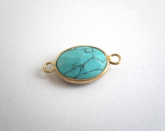 Turquoise oval gemstone connector