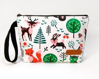 Woodland Zipper Pouch, Cosmetic Bag, Makeup Bag, Toiletry Bag, Supply Bag, Purse Organizer, Zipper Wristlet, Canvas Bag, Animal bag