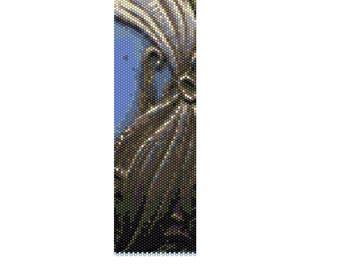 BPSF0002 Silver Flower  Even Count Single Drop Peyote Cuff/Bracelet Pattern