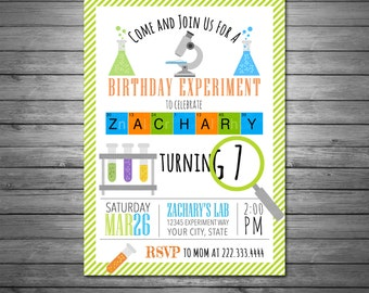 Science Birthday Invitations, Science Birthday Party, Science Invitation, Science Party, Mad Science Party, Digital Invitation, Experiment